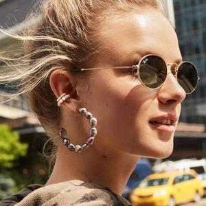 Anthropologie Grey Pearl Hoop Earrings